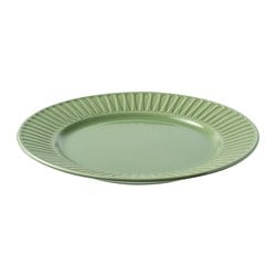 STRIMMIG plate, stoneware, green