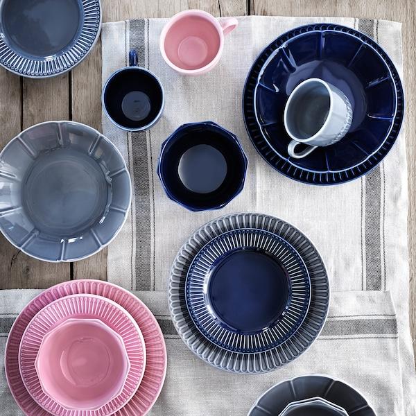 STRIMMIG serving plate stoneware grey 5 cm 29 cm
