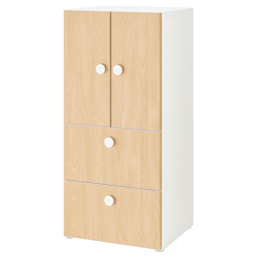 STUVA / FÖLJA storage combination w doors/drawers white/birch 60 cm 50 cm 128 cm