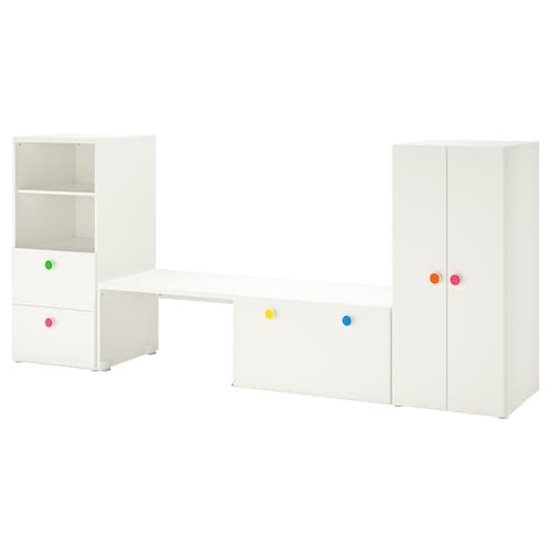 STUVA / FÖLJA storage combination with bench white 300 cm 50 cm 128 cm