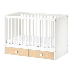 STUVA / FÖLJA cot with drawers, white, birch