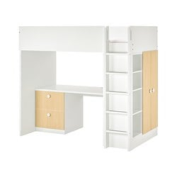 STUVA / FÖLJA loft bed combo w 2 drawer/2 doors, white, birch