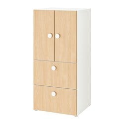 STUVA / FÖLJA storage combination w doors/drawers, white, birch