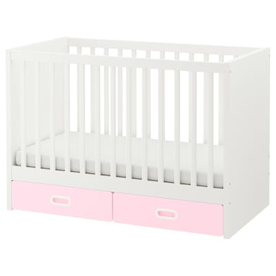 STUVA / FRITIDS Cot with drawers, light pink, 60x120 cm
