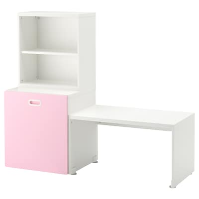 STUVA / FRITIDS Table with toy storage, white/light pink, 150x50x128 cm