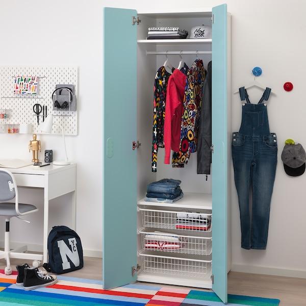 STUVA / FRITIDS Wardrobe, white/light blue, 60x50x192 cm