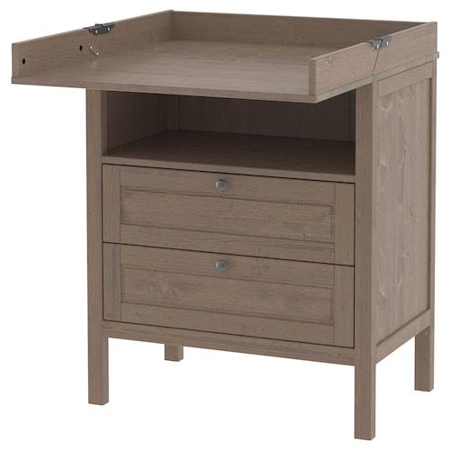 SUNDVIK changing table/chest of drawers grey-brown 79 cm 51 cm 87 cm 46 cm 99 cm 109 cm 18 cm 15 kg