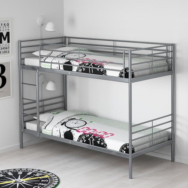 SVÄRTA bunk bed frame silver-colour 100 kg 208 cm 97 cm 179 cm 200 cm 90 cm 18 cm