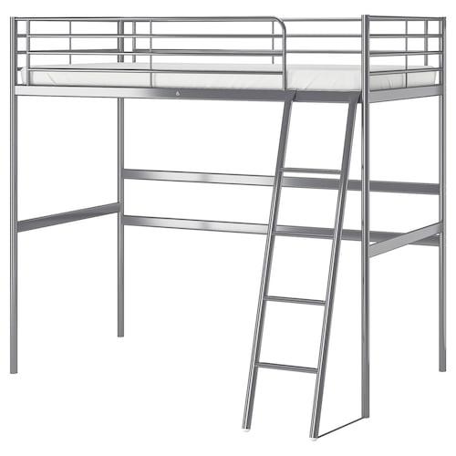 SVÄRTA loft bed frame silver-colour 208 cm 145 cm 97 cm 186 cm 200 cm 90 cm 17 cm