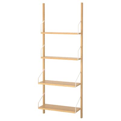 SVALNÄS Wall-mounted shelf combination, bamboo, 66x25x176 cm