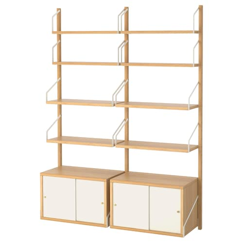 SVALNÄS Wall-mounted storage combination, bamboo/white, 130x35x176 cm