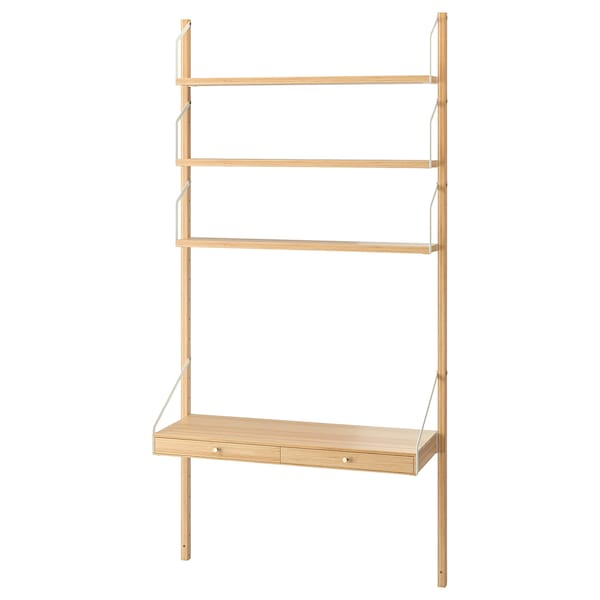 SVALNÄS wall-mounted workspace combination bamboo 86 cm 35 cm 176 cm
