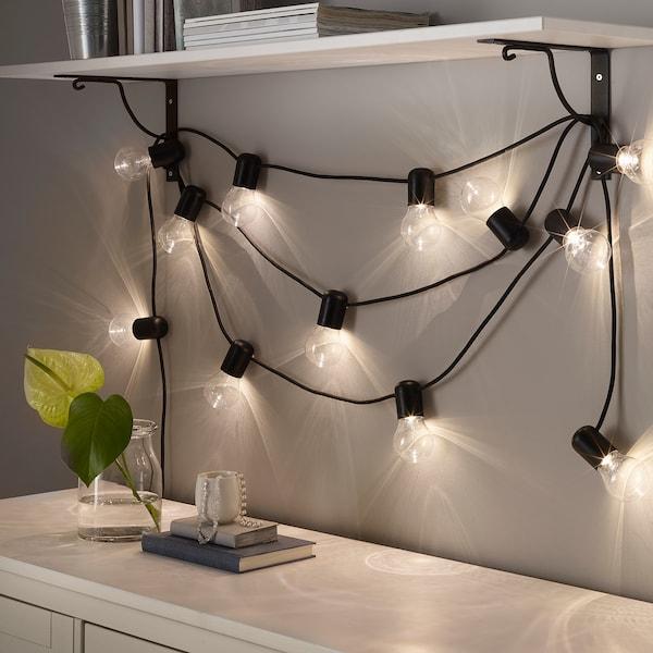 SVARTRÅ LED lighting chain with 12 lights black/indoor 40.0 cm 4.0 m 2.4 W 8.4 m