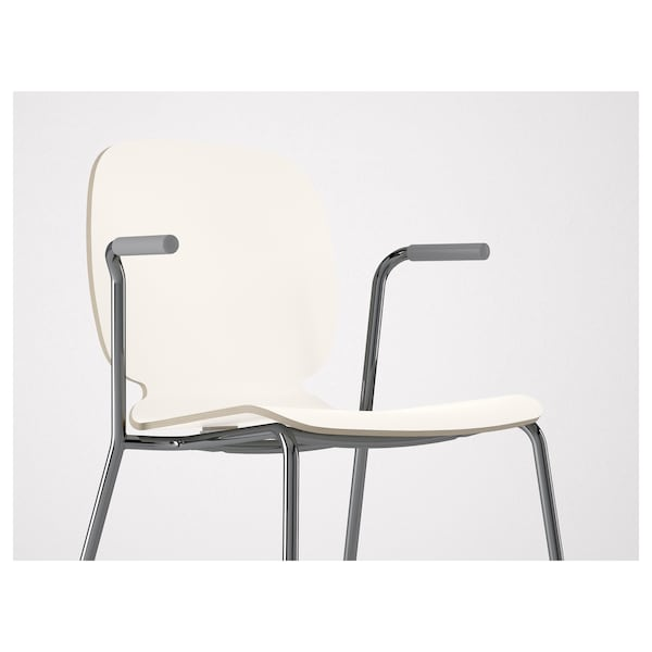 SVENBERTIL chair with armrests white/Dietmar chrome-plated 110 kg 53 cm 50 cm 84 cm 45 cm 42 cm 46 cm