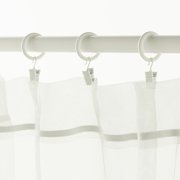 SYRLIG curtain ring with clip and hook white 25 mm 3 kg 10 pack