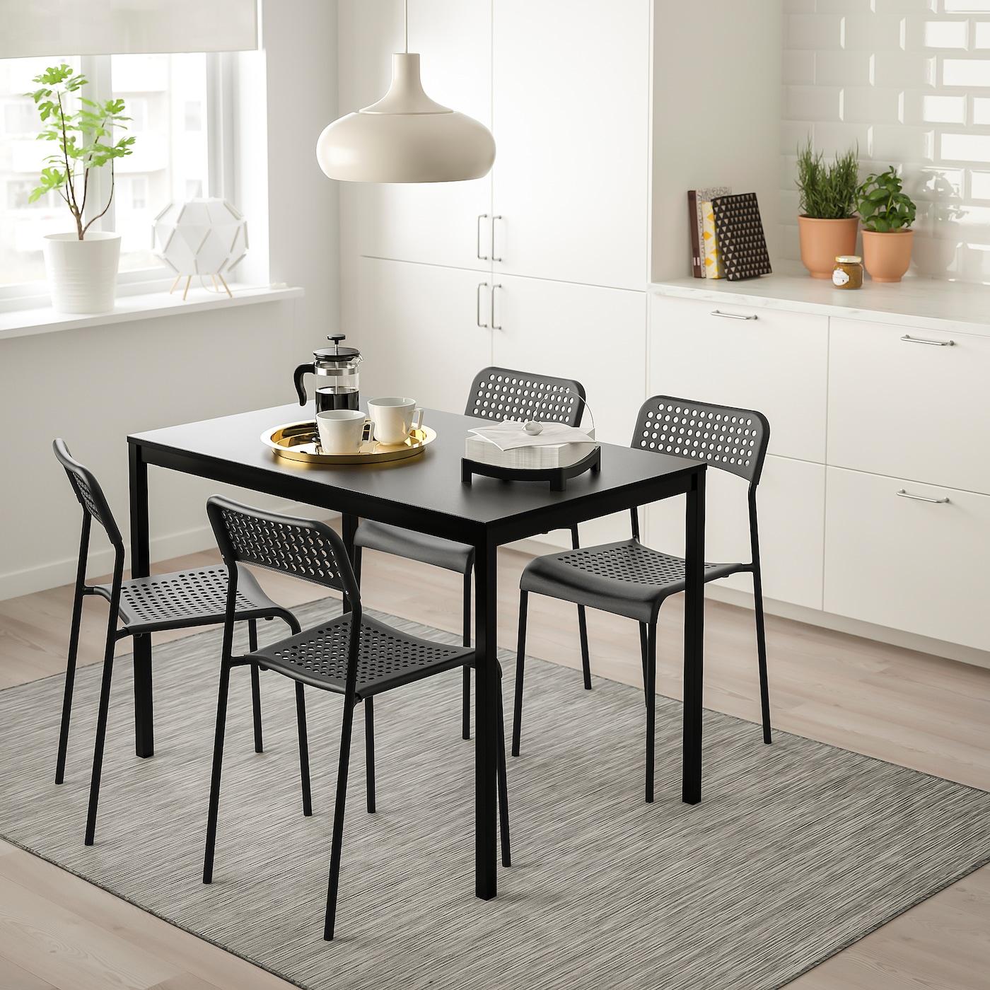 Tarendo Adde Table And 4 Chairs Black Black Ikea