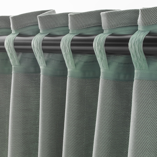TIBAST Curtains, 1 pair, green, 145x250 cm