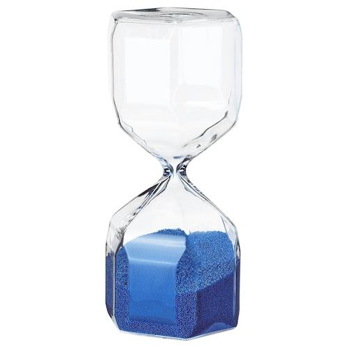 TILLSYN decorative hourglass clear glass/blue 16 cm