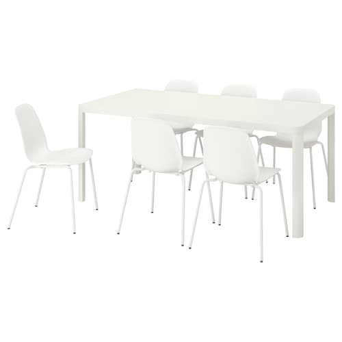 TINGBY / LEIFARNE Table and 6 chairs, white/white, 180 cm