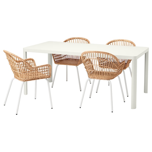 TINGBY / NILSOVE table and 4 chairs white/rattan white 180 cm 90 cm