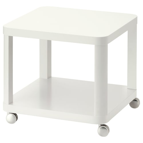 TINGBY Side table on castors, white, 50x50 cm