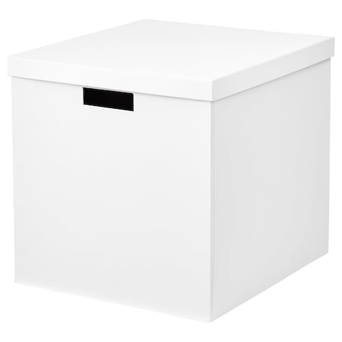 TJENA Storage box with lid, white, 32x35x32 cm