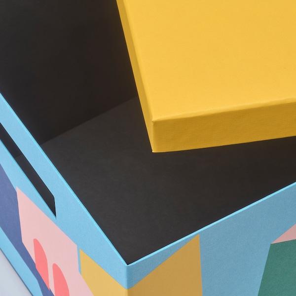 TJENA storage box with lid yellow 35 cm 25 cm 20 cm