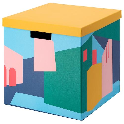TJENA storage box with lid yellow 30 cm 30 cm 30 cm
