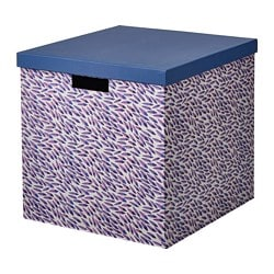 TJENA storage box with lid, blue/lilac, patterned