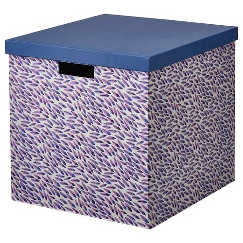 TJENA storage box with lid blue/lilac/patterned 35 cm 32 cm 32 cm