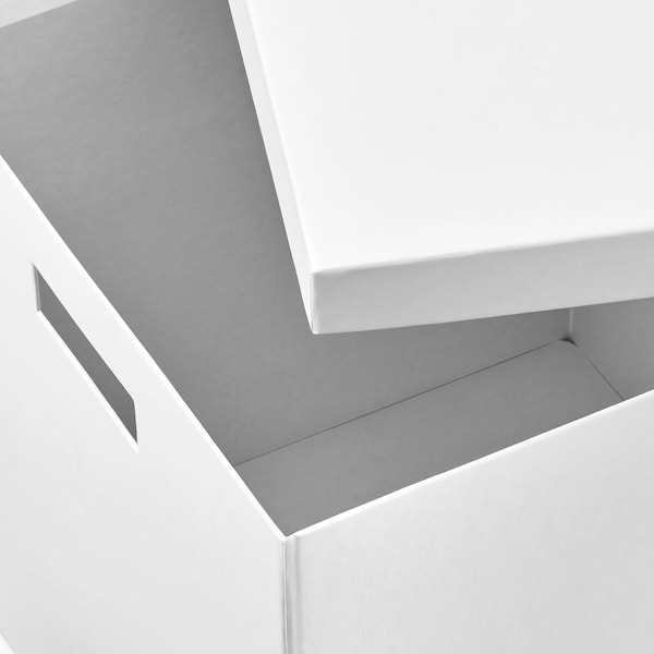 TJENA storage box with lid white 30 cm 30 cm 30 cm