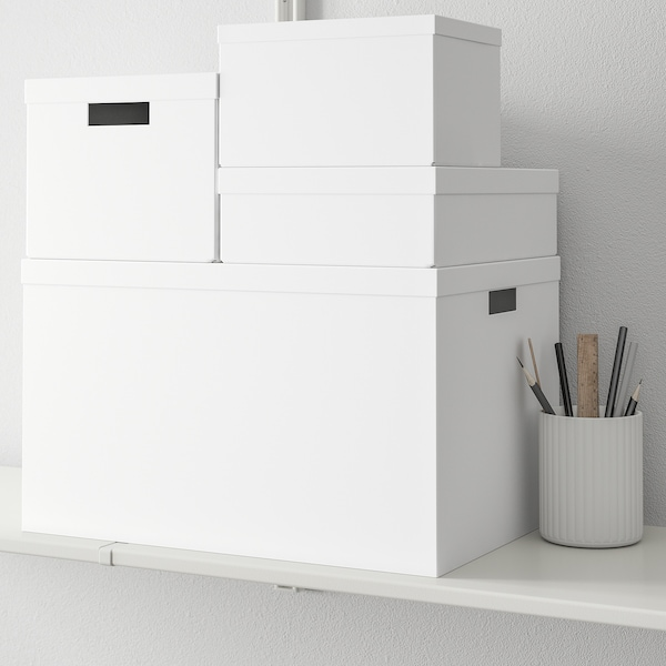 TJENA storage box with lid white 50 cm 35 cm 30 cm