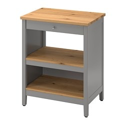 TORNVIKEN kitchen island, grey, oak
