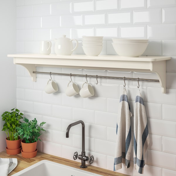 TORNVIKEN wall shelf off-white 120 cm 30 cm 24 cm