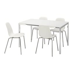 TORSBY /  LEIFARNE table and 4 chairs, high-gloss white, white