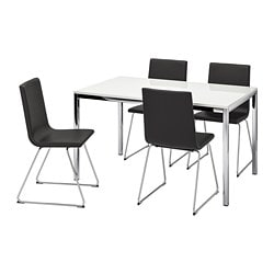 TORSBY /  VOLFGANG table and 4 chairs, high-gloss white, Bomstad black