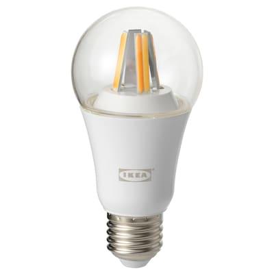 TRÅDFRI LED bulb E27 806 lumen, wireless dimmable white spectrum/globe clear