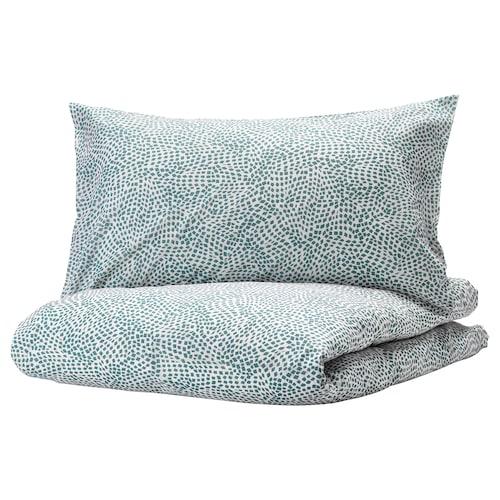 TRÄDKRASSULA quilt cover and 2 pillowcases white/blue 100 /inch² 2 pack 230 cm 200 cm 50 cm 80 cm