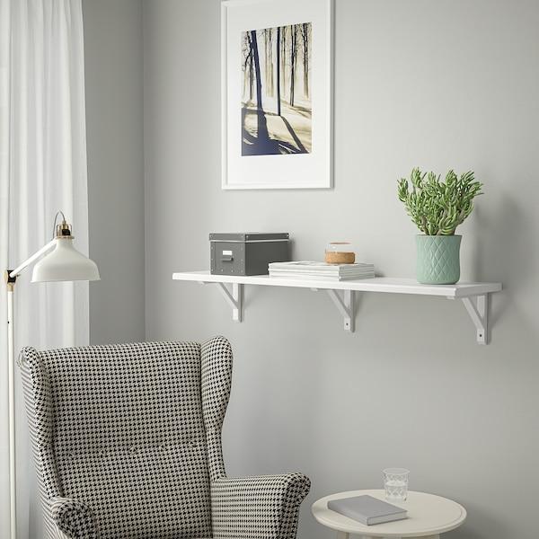 TRANHULT / SANDSHULT Wall shelf, white stained aspen, 120x30 cm