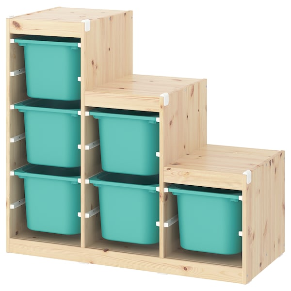 TROFAST Storage combination, light white stained pine/turquoise, 99x44x91 cm