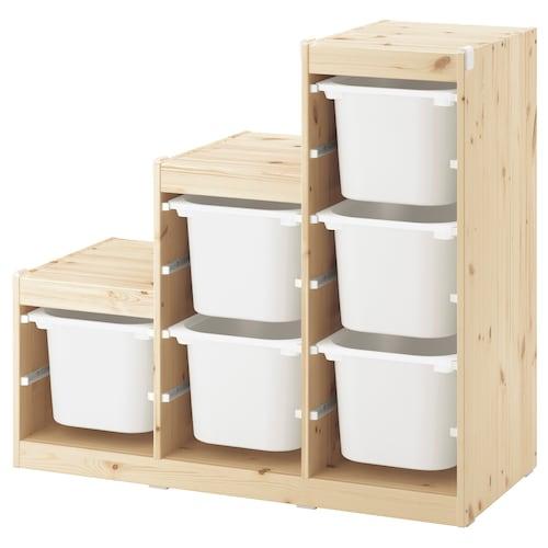 TROFAST Storage combination, light white stained pine/white, 99x44x91 cm