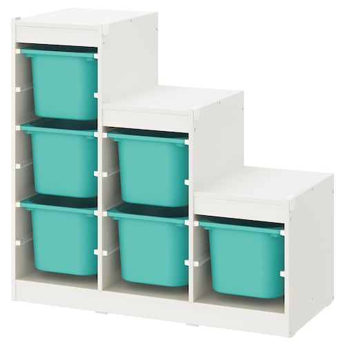 TROFAST Storage combination, white/turquoise, 99x44x95 cm