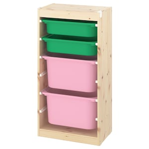 Colour: Light white stained pine green/pink.