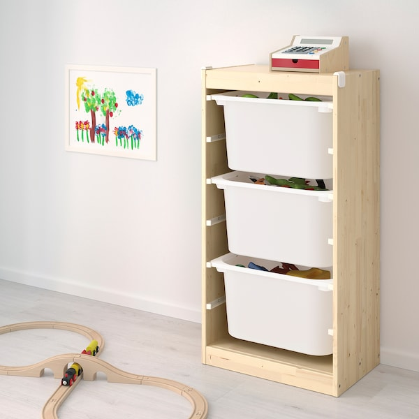 TROFAST Storage combination with boxes, light white stained pine green/pink, 46x30x91 cm