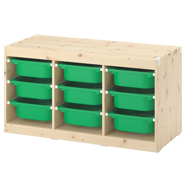 TROFAST Storage combination with boxes, light white stained pine/green, 99x44x52 cm