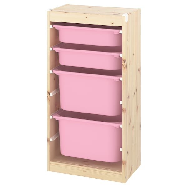 TROFAST Storage combination with boxes, light white stained pine/pink, 46x30x91 cm