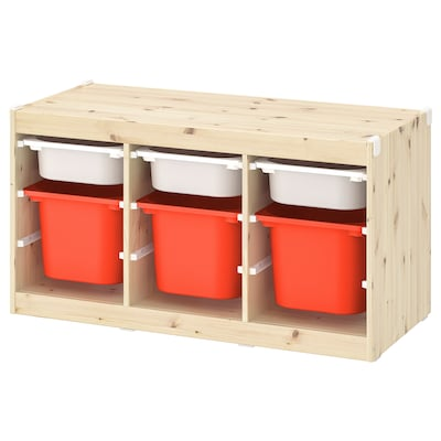 TROFAST Storage combination with boxes, light white stained pine white/orange, 99x44x52 cm