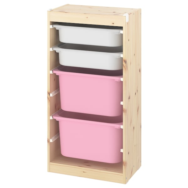 TROFAST Storage combination with boxes, light white stained pine white/pink, 46x30x91 cm