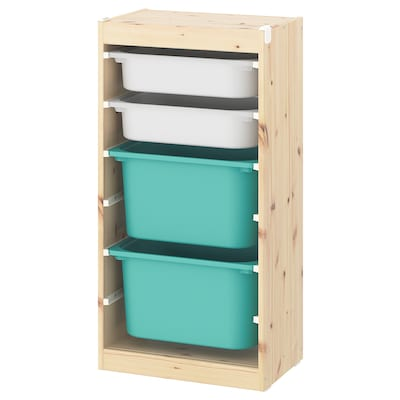 TROFAST Storage combination with boxes, light white stained pine white/turquoise, 46x30x91 cm