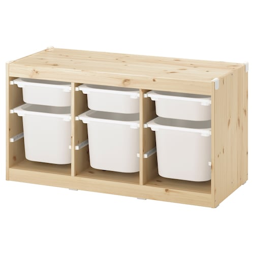 TROFAST Storage combination with boxes, light white stained pine/white, 99x44x52 cm